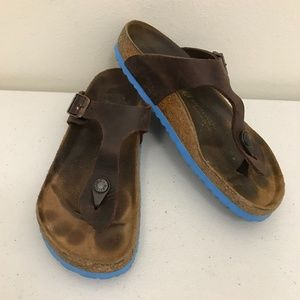 Birkenstock Gizeh Brown Leather Blue Soles Sandals